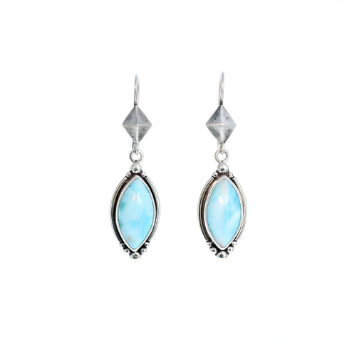 Sky Blue Larimar Earrings Marquis Shape Sterling