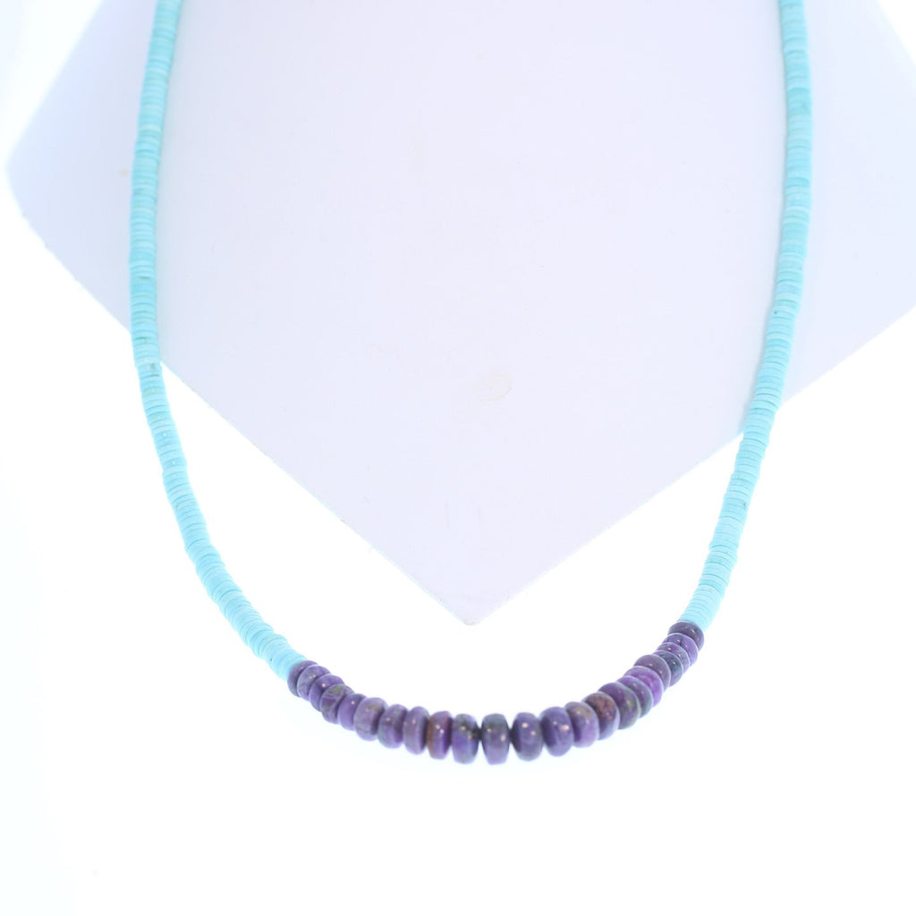 Genuine SLEEPING BEAUTY TURQUOISE Necklace with Sugilite 22""
