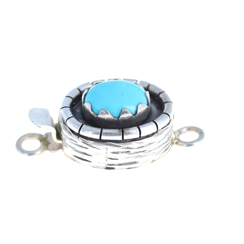Sleeping Beauty Turquoise Sterling Clasp Oval Southwest 10x7.5mm