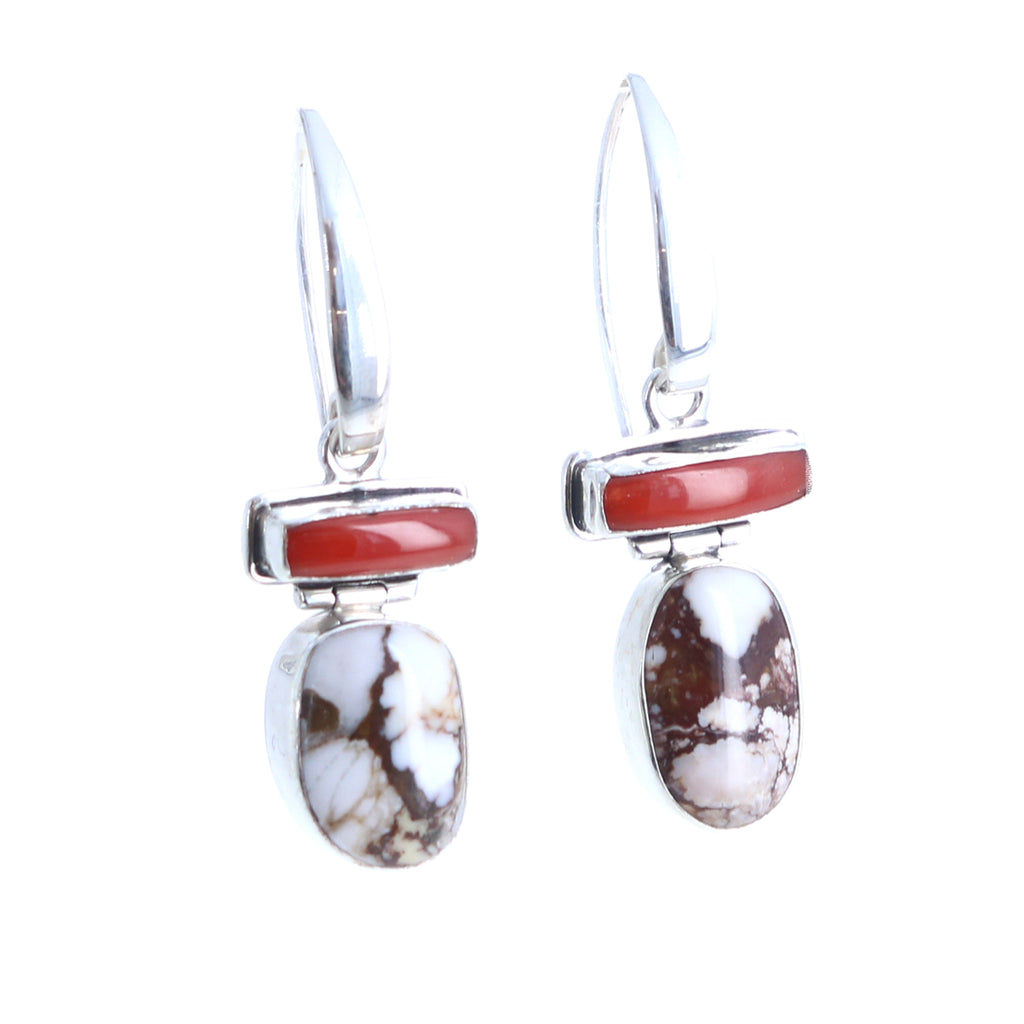 Coral and Wild Horse Earrings Sterling Southwest Sterling