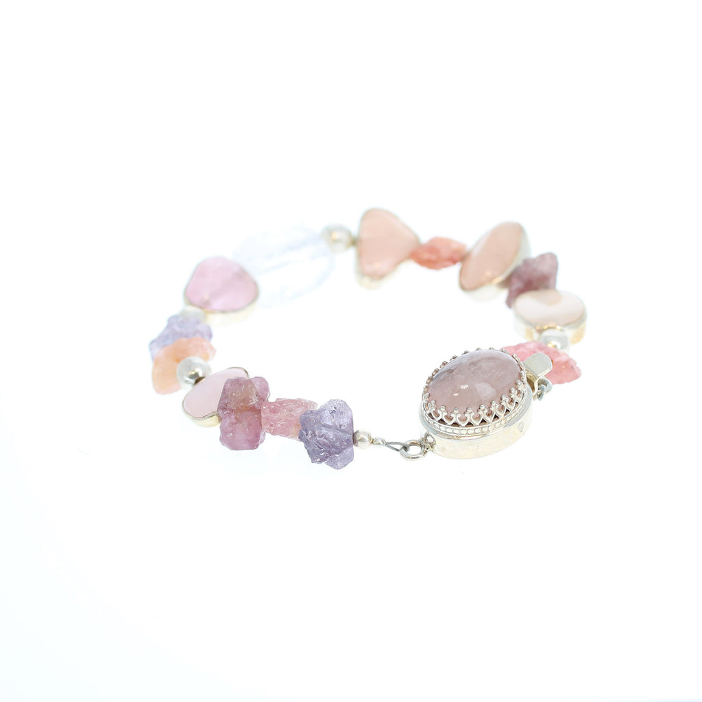 SPINEL MORGANITE STERLING SILVER BRACELET