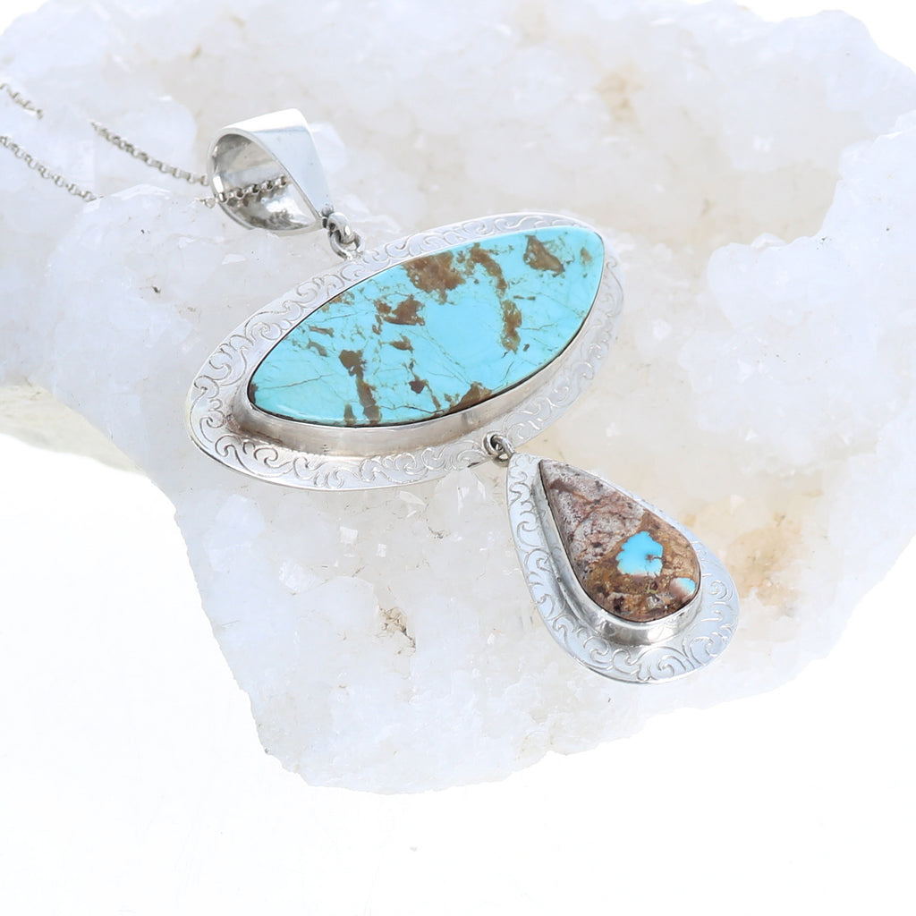 Persian and Kingman Turquoise Pendant Sterling Silver Large