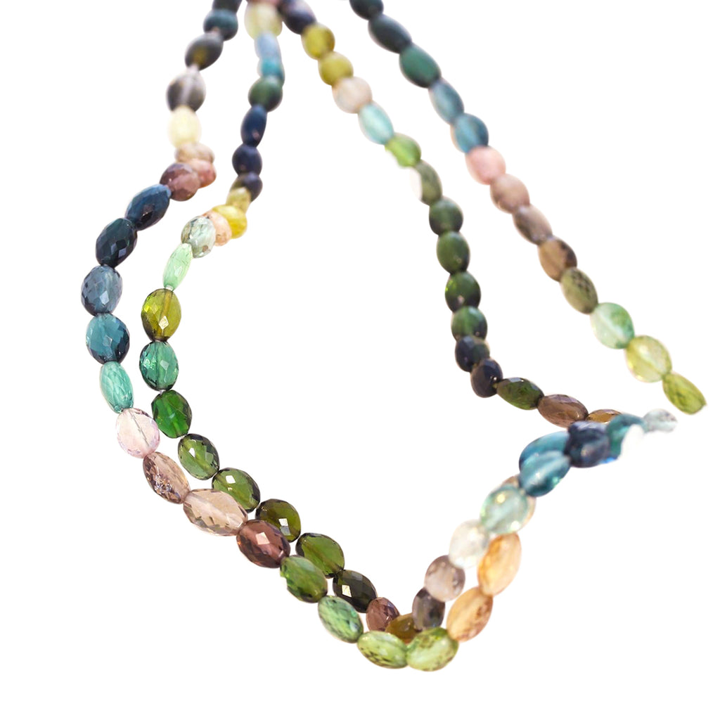 AAA Tourmaline Beads Blues, Pink and Greens Faceted Ovals