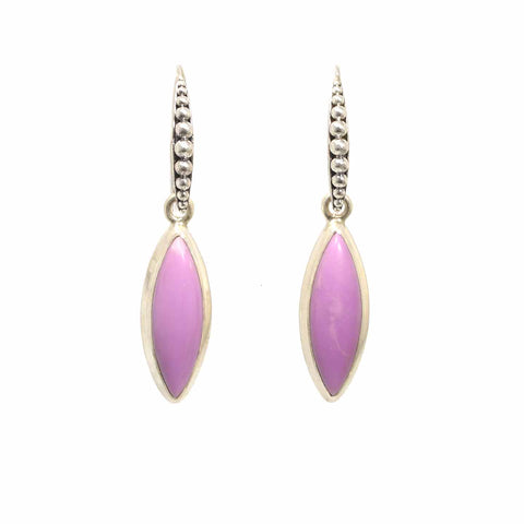 Lavender PHOSPHOSIDERITE STERLING EARRINGS Elongated Marquis