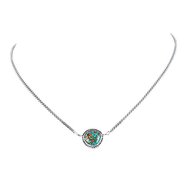 GEM PENDANT TURQUOISE BLUE DIAMOND Mine Sterling 16""