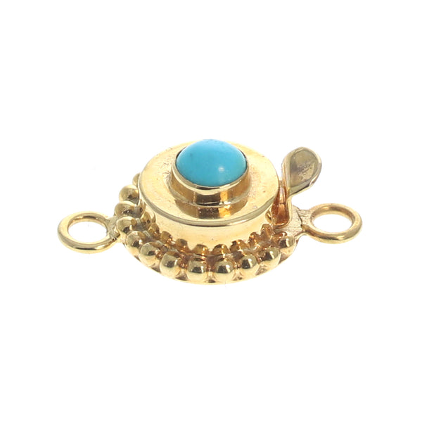 18K GOLD CLASP SLEEPING BEAUTY TURQUOISE Round