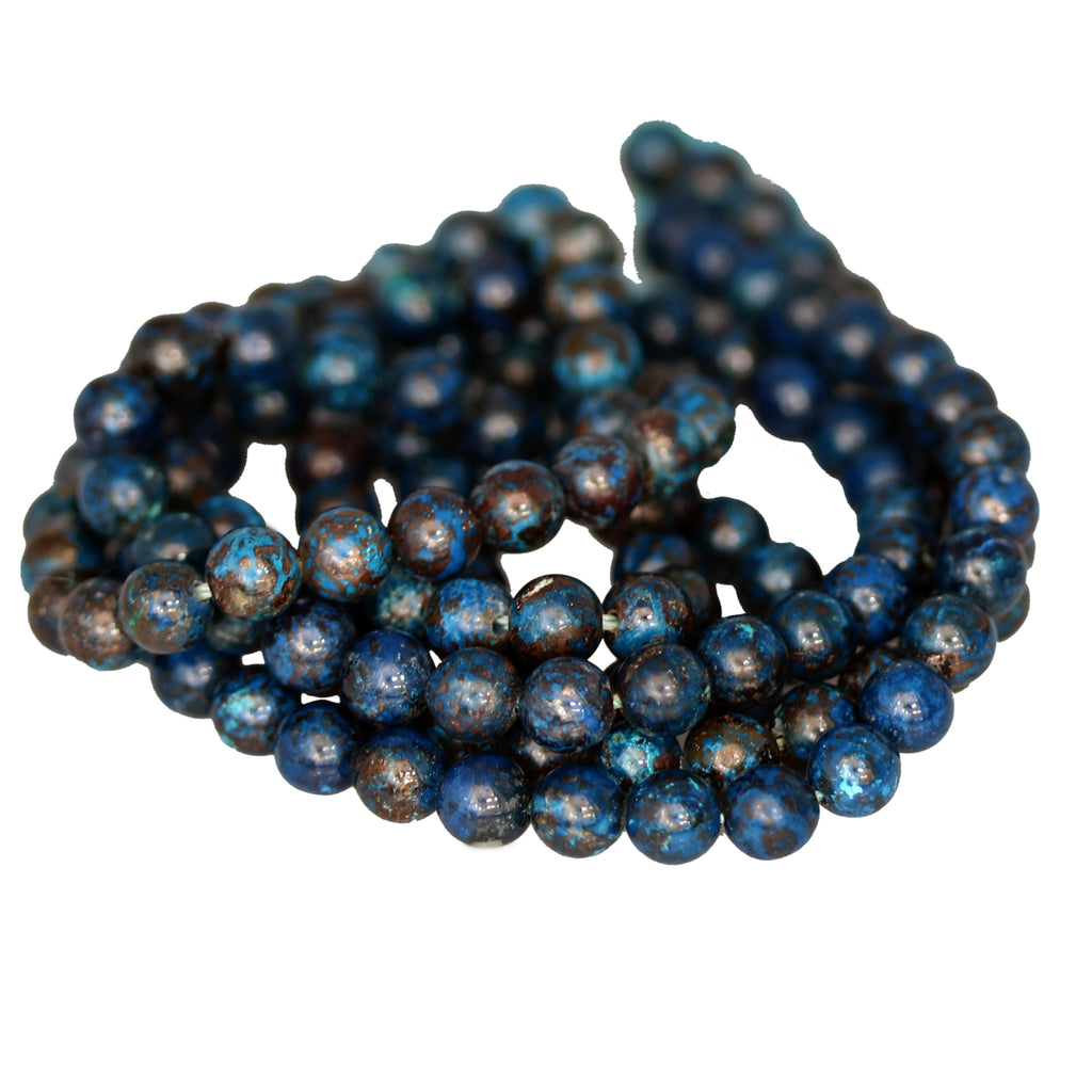 SHATTUCKITE BEADS Round 6mm Deep Blue Abyss