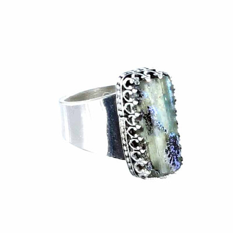 RING Antique Roman Glass Sterling Silver Purple Blue - New World Gems - 1
