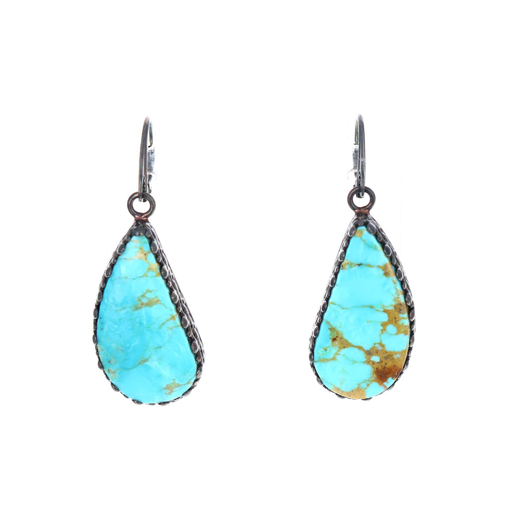 KINGMAN TURQUOISE Earrings Sky Blue Golden Large Teardrops