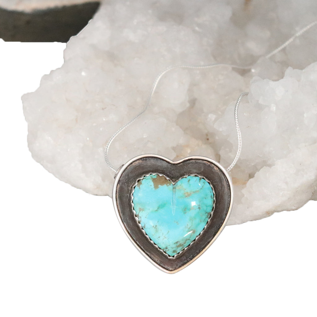 HEART PENDANT Kingman Turquoise Sterling Southwest Necklace Large