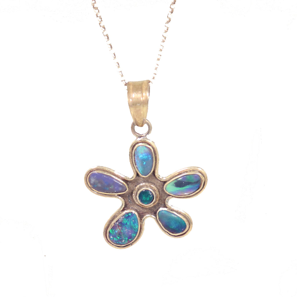 Lightning Ridge Opal Flower Design Pendant Sterling 18""