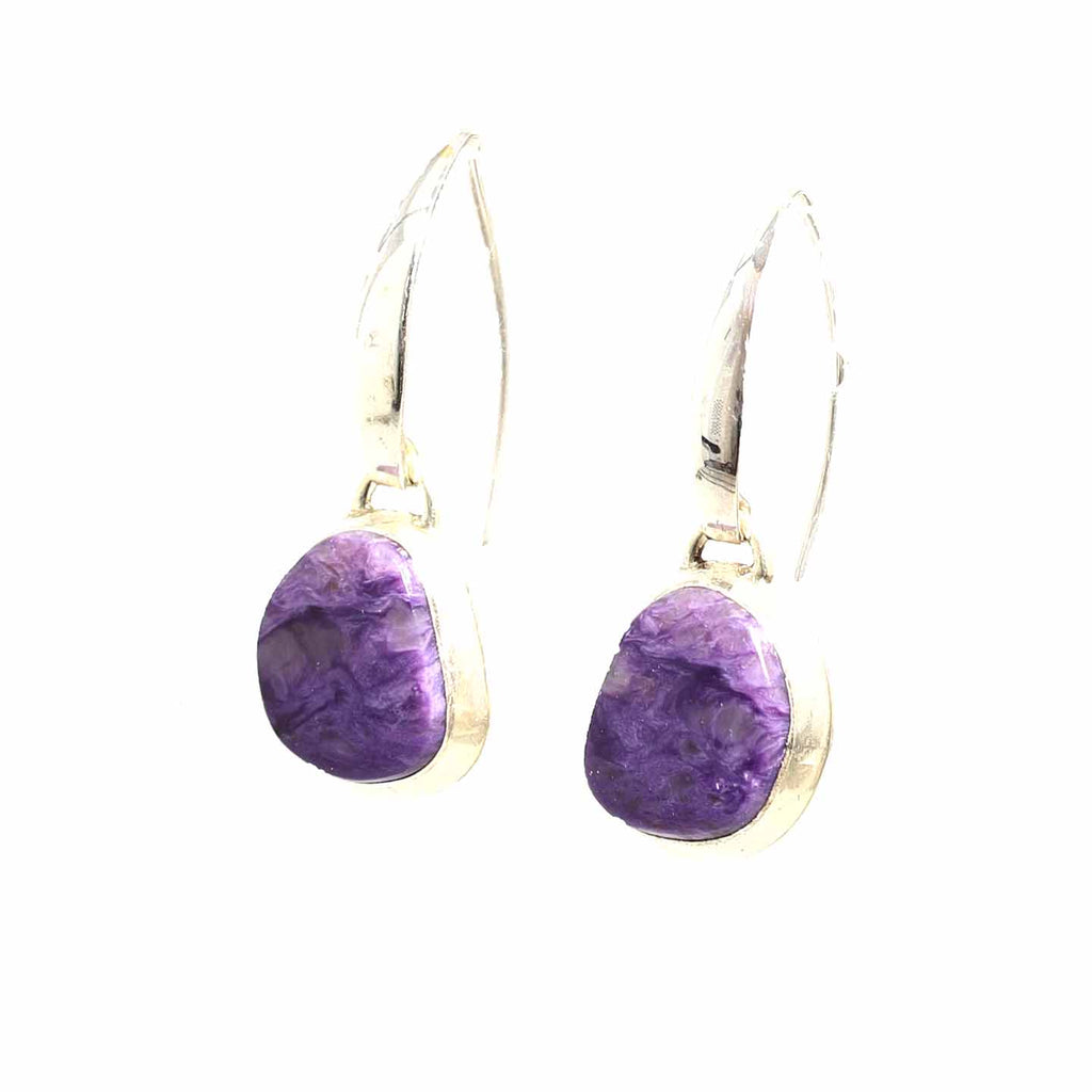 CHAROITE STERLING EARRINGS Free Form Elongated Hoops