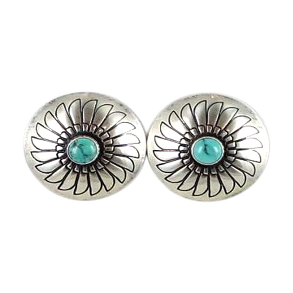 CARICO LAKE TURQUOISE BUTTON EARRINGS 1""