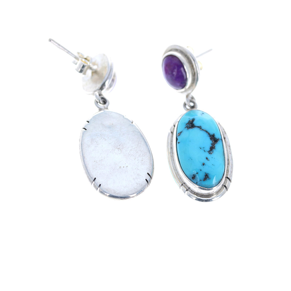 KINGMAN and SUGILITE EARRINGS STERLING SILVER LARGE OVAL