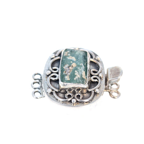 ANTIQUE ROMAN GLASS Clasp Sterling 3 Strand Pale Aqua Multi