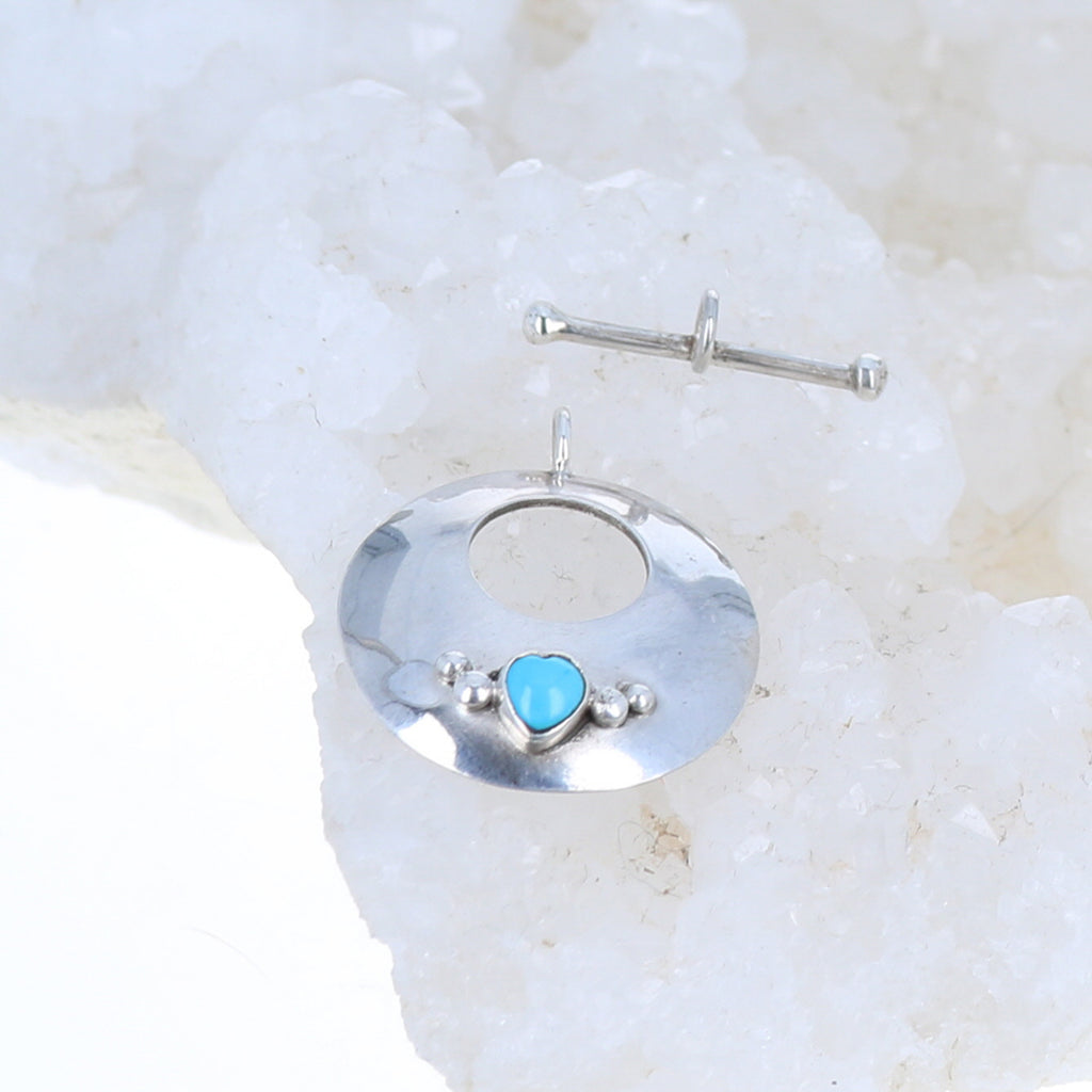 Sleeping Beauty Turquoise Toggle Clasp Sterling Heart