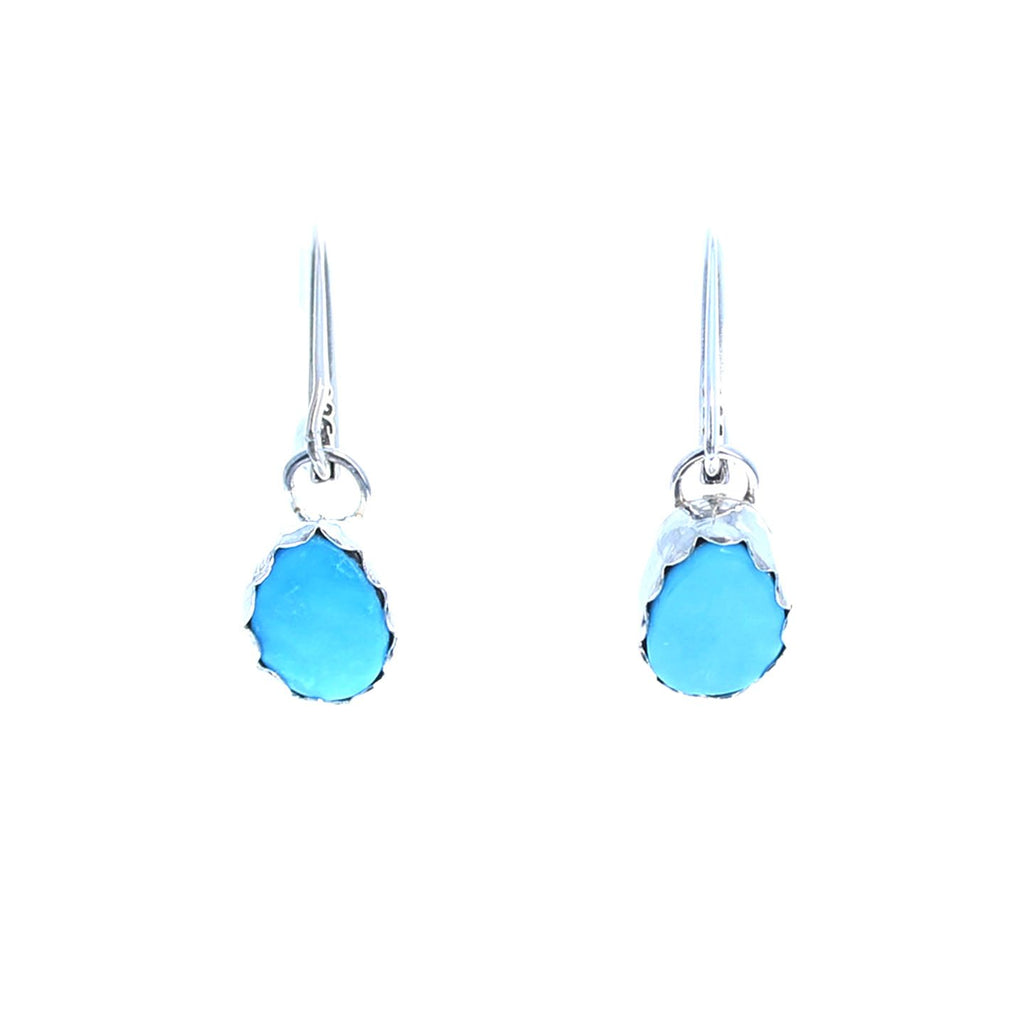 Beautiful BLUE GEM TURQUOISE Earrings Nevada Sterling