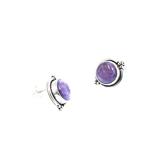 "CHAROITE EARRINGS STERLING Silver Round 1/2"" Size"