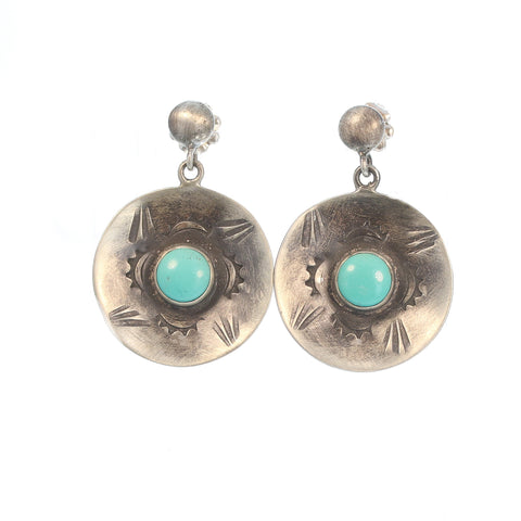 CARICO LAKE TURQUOISE Earrings Sterling Silver Blue Green Ovals
