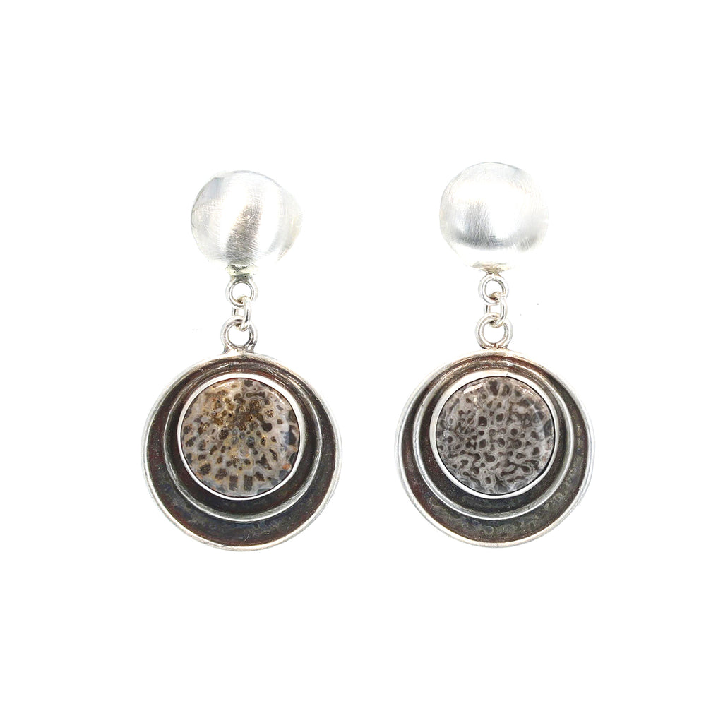 BRYOZOAN BLACK CORAL Earrings Circle Design Southwest Round