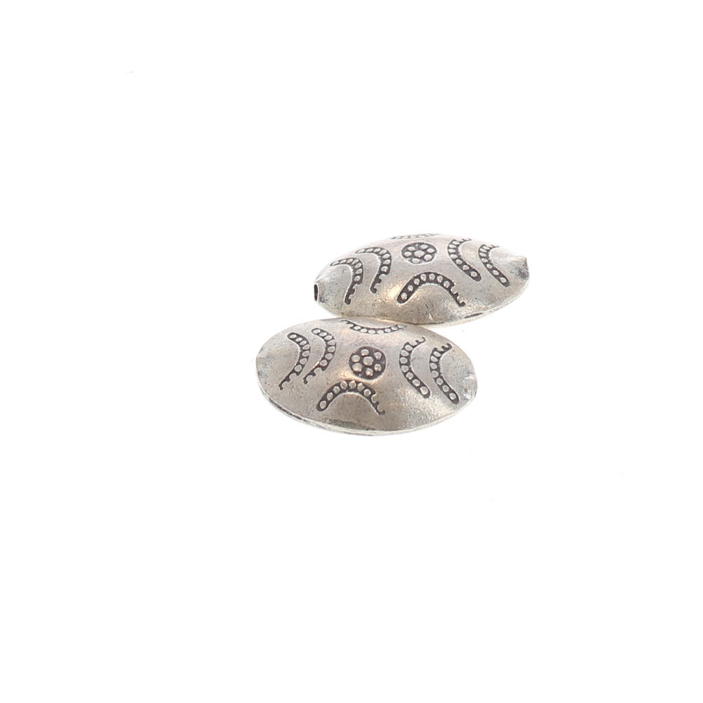 STERLING SILVER HILLTRIBE LARGE OVAL SHAPED BEAD PAIR
