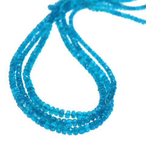 APATITE BEADS FACETED 3.5-5.5mm ELECTRIC BLUE RONDELLE