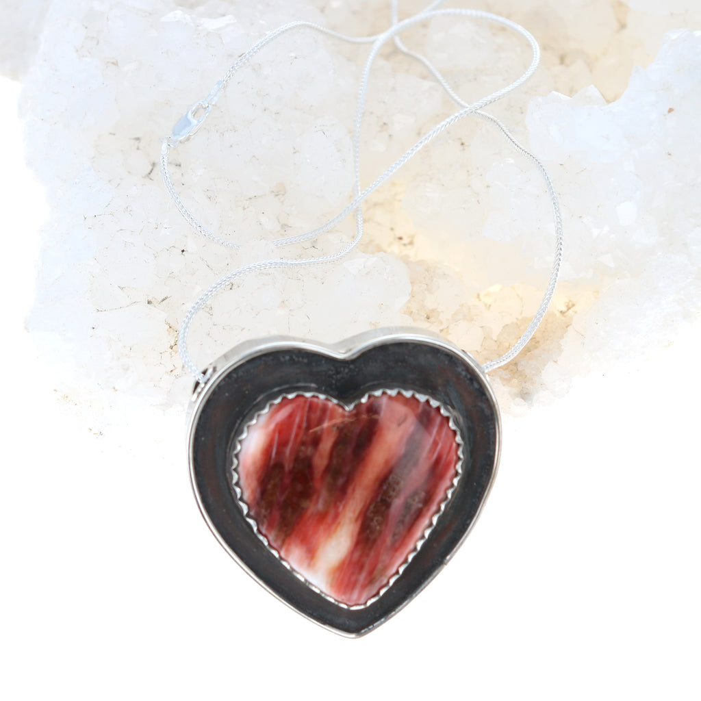 HEART NECKLACE Spiny Oyster Sterling Choose Color