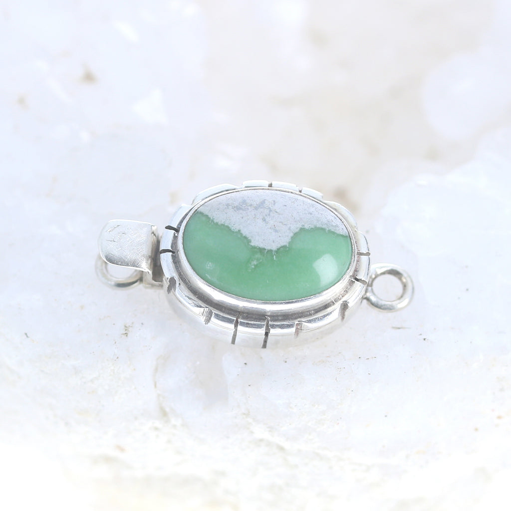 VARISCITE CLASP STERLING Oval Southwest Style