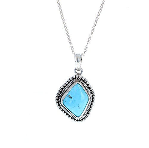 SLEEPING BEAUTY TURQUOISE Kite Shaped Pendant Necklace 16""