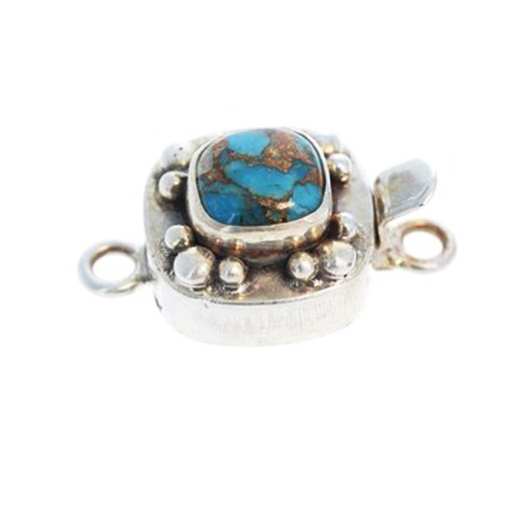 KINGMAN TURQUOISE CLASP with Copper Vein Cushion 9mm