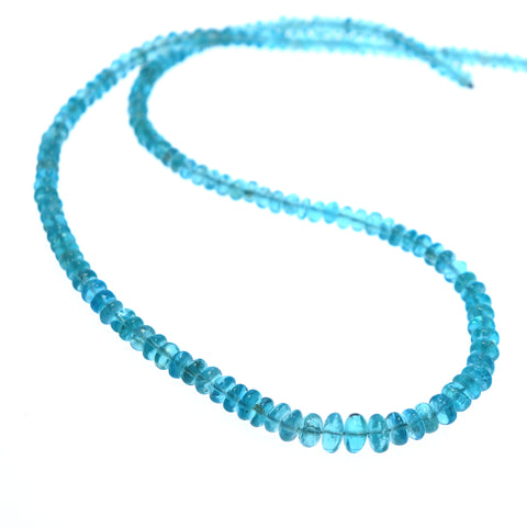APATITE BEADS Light Blue Rondelle Graduated 4.5-7.8mm