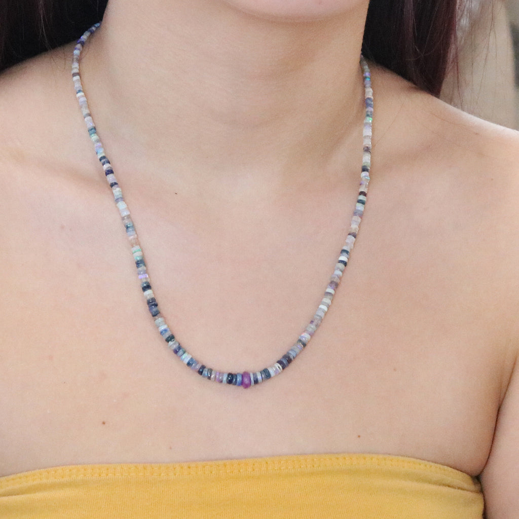 Multicolor AUSTRALIAN OPAL Necklace with Sugilite