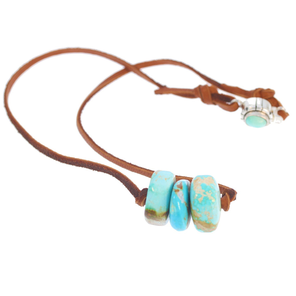 Tonopah Nevada Turquoise Necklace 3 Stone Leather Sterling 17""