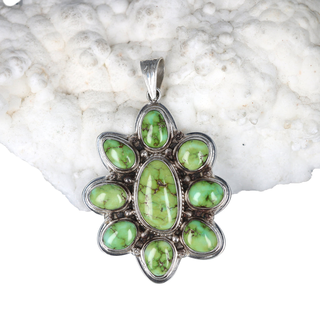 GREEN SONORAN Turquoise Pendant Sterling Silver Nevada