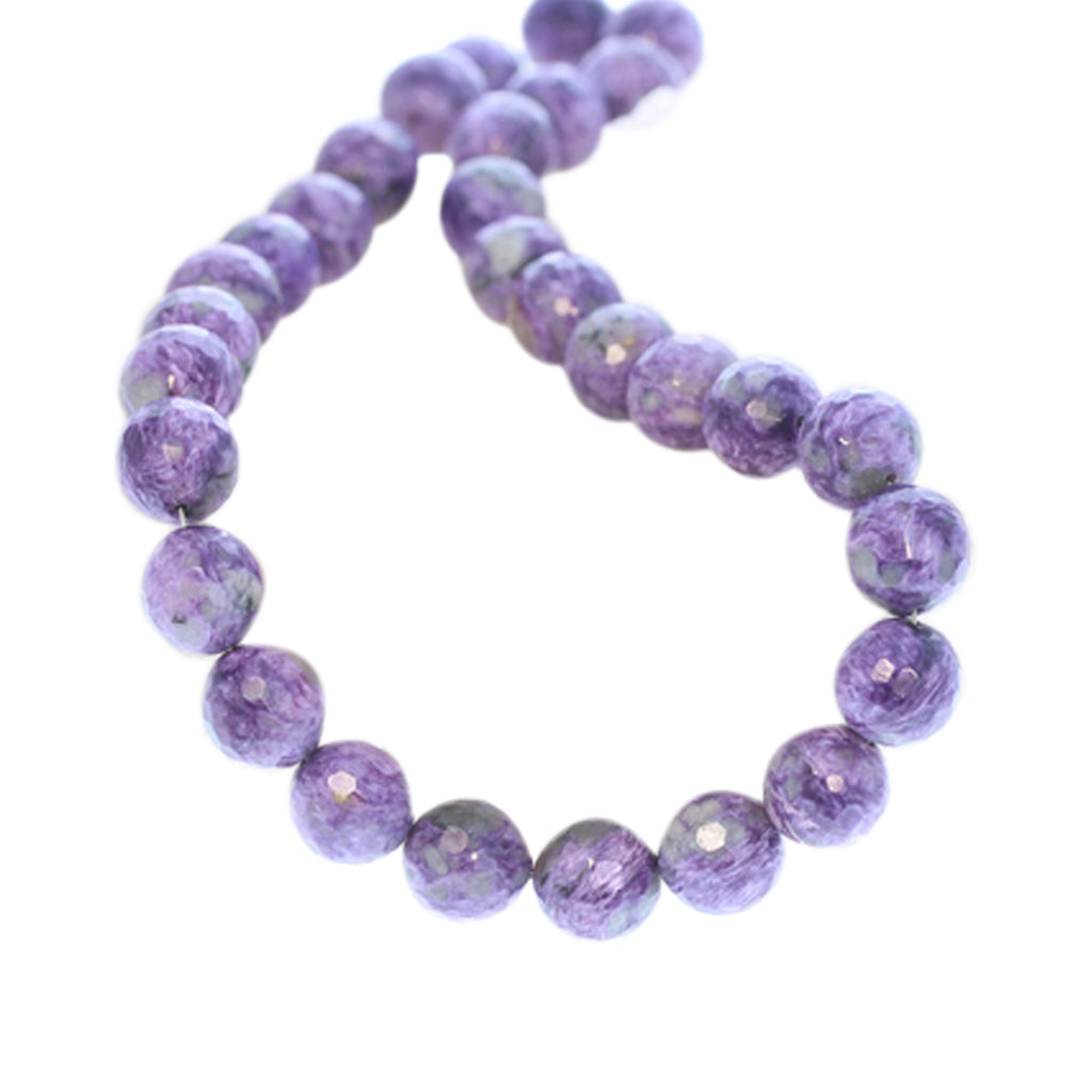 AAA CHAROITE BEADS FACETED 12mm ROUND 14""