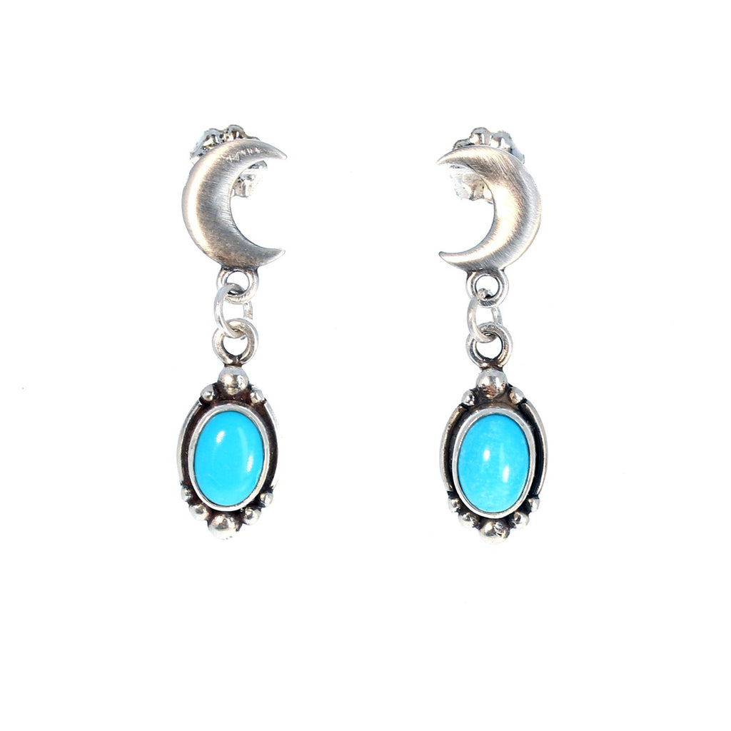 SLEEPING BEAUTY TURQUOISE Earrings Moon Post Style Studs
