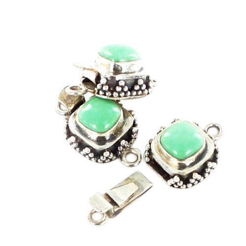 VARISCITE CLASP STERLING CUSHION GRANULATED 8mm