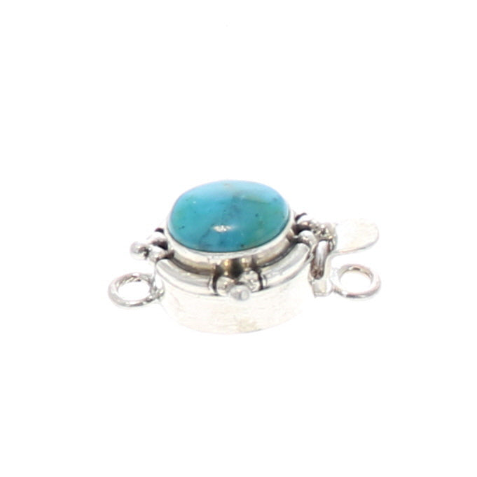 PERUVIAN BLUE OPAL Clasp Oval 10x8mm Ball Design Sterling