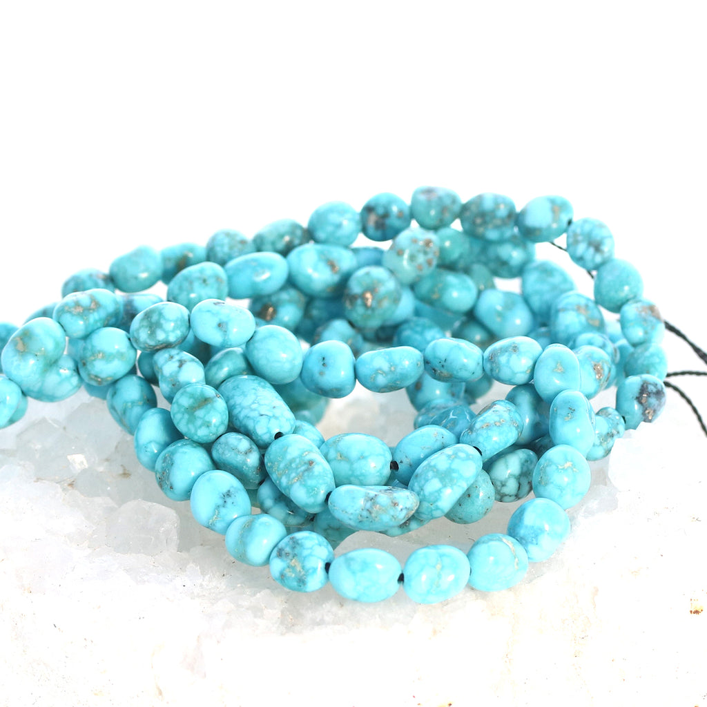 WHITE WATER {Mexican} TURQUOISE Beads 7-8mm Potato Shape 16""