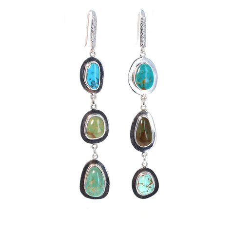 CARICO LAKE and KINGMAN Turquoise Earrings 3 Stone Blues Greens