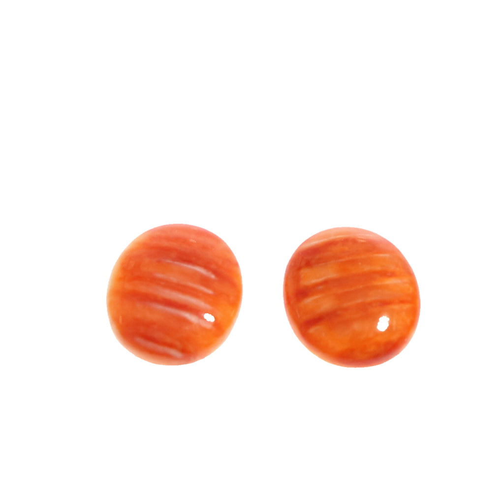 ORANGE SPINY OYSTER Cabochon Pair Oval 10x12mm