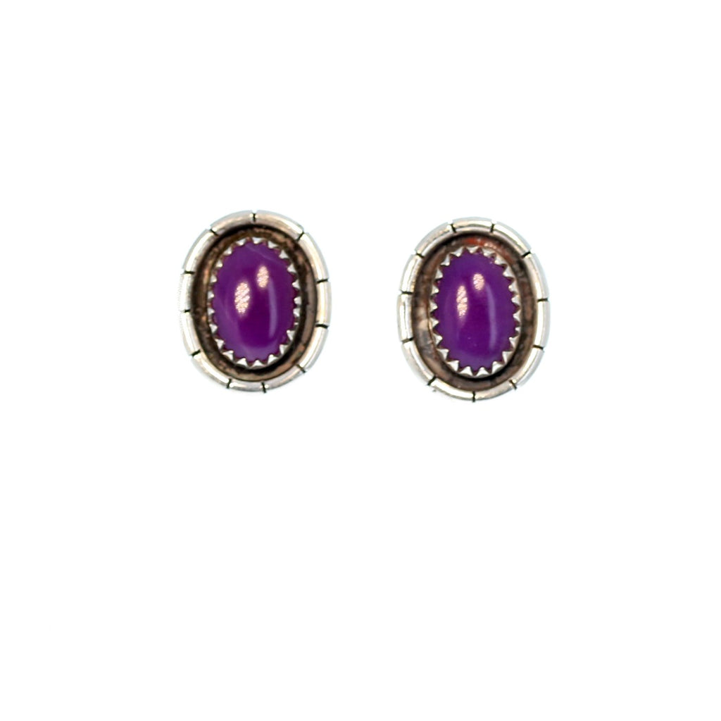 SUGILITE Earrings Gel Post Style Studs Sterling 11x7mm