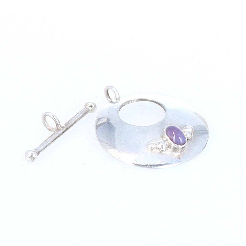 Lavender Chalcedony Toggle Clasp Sterling