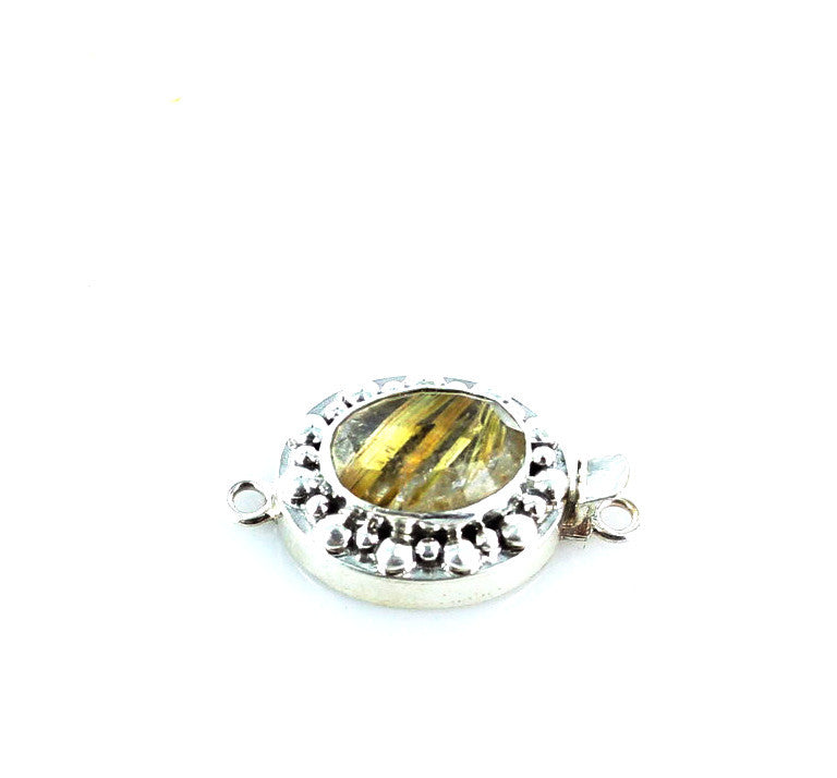 GOLD RUTILATED QUARTZ Clasp Faceted Sterling