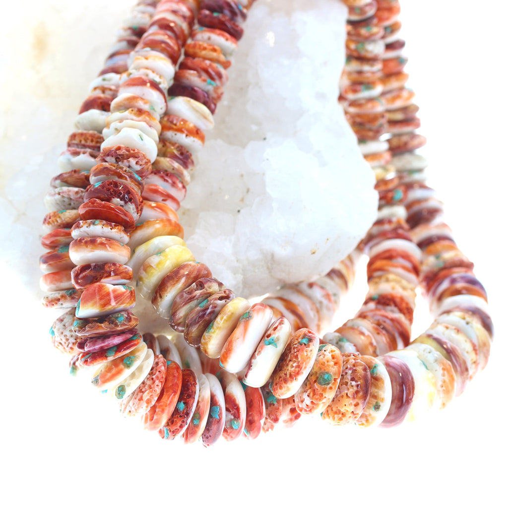 SPINY OYSTER BEADS Red/Orange with Turquoise Inlay 16""