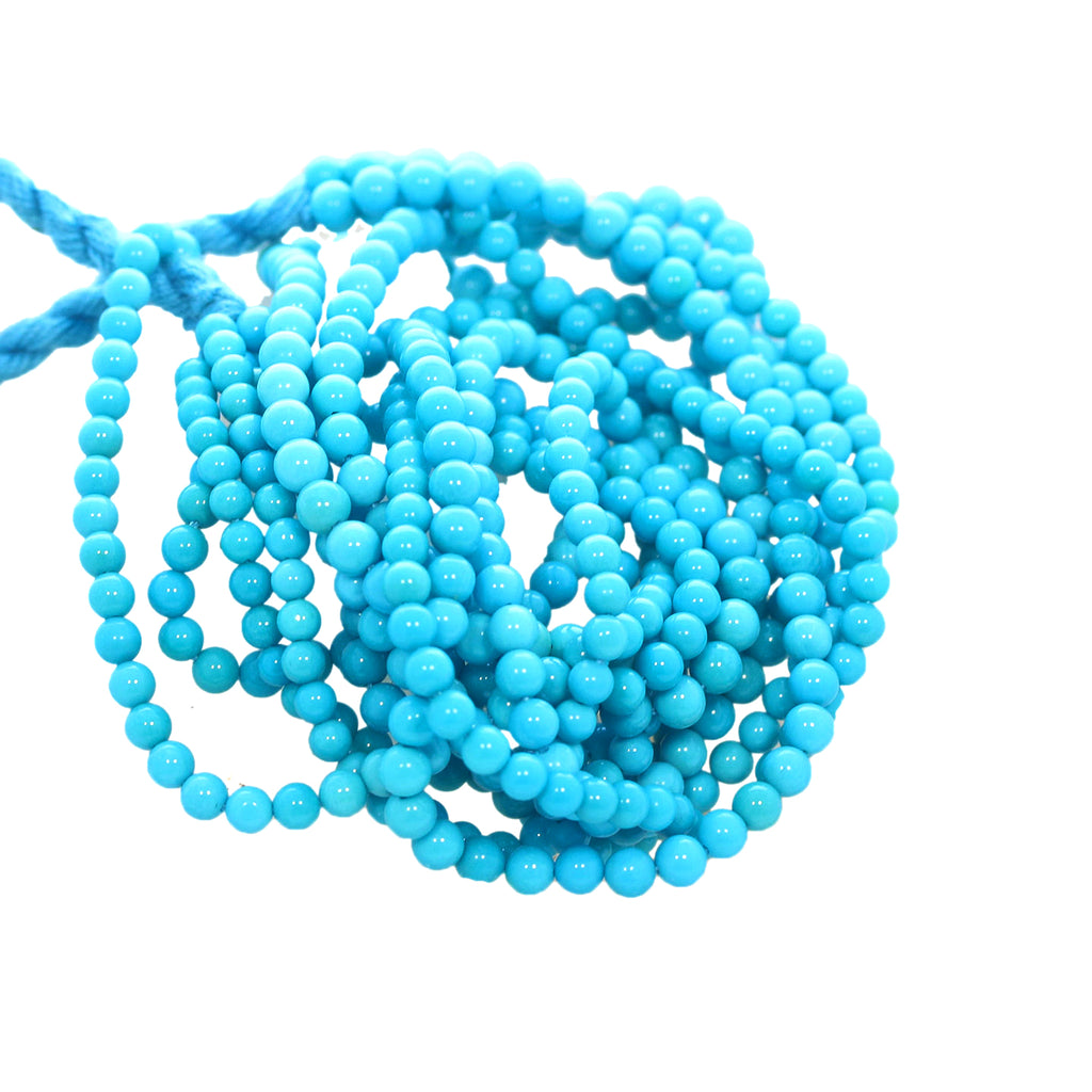 5 STAR SLEEPING BEAUTY Turquoise Beads Round 3.8-4mm 16""