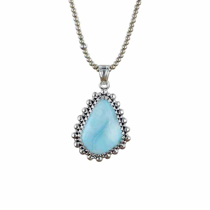 LARIMAR FREE FORM Pendant Exquisite Sterling Setting #2