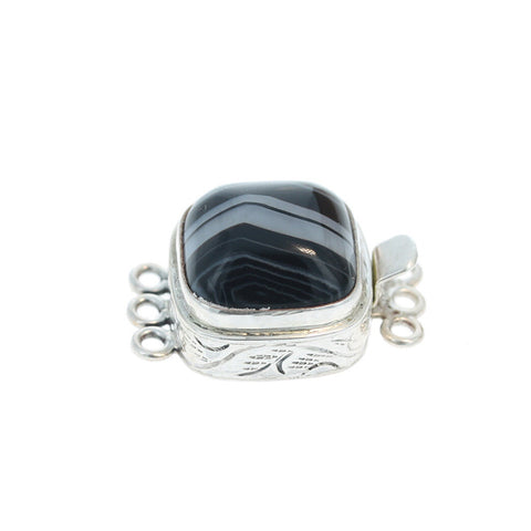 Tuxedo Agate Clasp 3 Strand Sterling