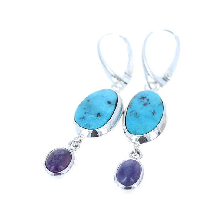 KINGMAN Turquoise and SUGILITE EARRINGS Dangles