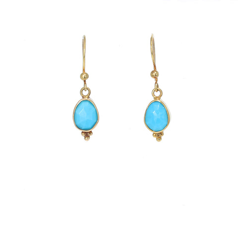 18k Gold and Sleeping Beauty Turquoise Earrings Faceted